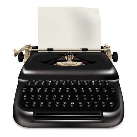 Black typewriter icon. Realistic illustration of black typewriter vector icon for web design isolated on white background