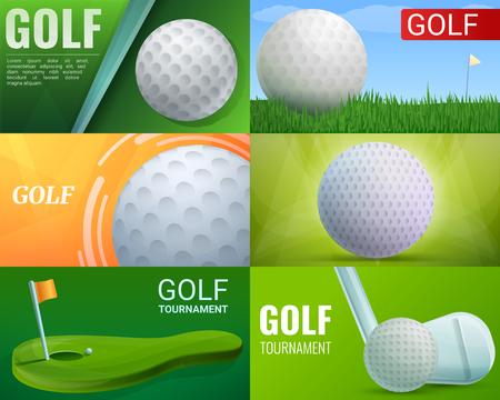 Insieme della bandiera di golf. Cartoon illustrazione del vettore di golf set di banner per il web design Vettoriali