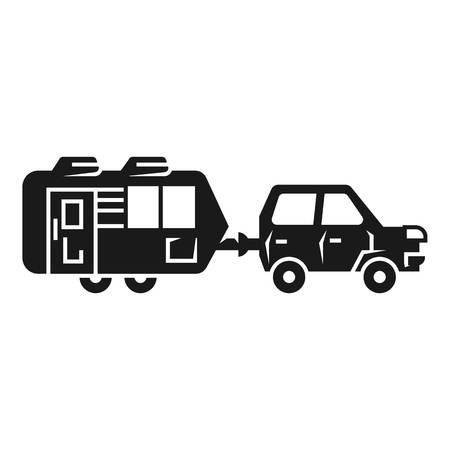Car with car trailer icon. Simple illustration of car with car trailer vector icon for web design isolated on white background
