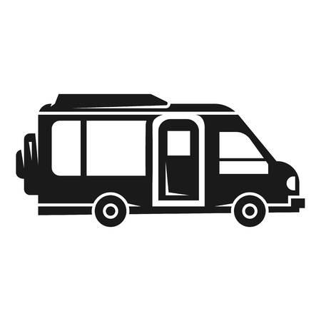 キャンピングカーのアイコン。白い背景に隔離されたウェブデザインのためのキャンピングカーベクトルアイコンの簡単なイラスト