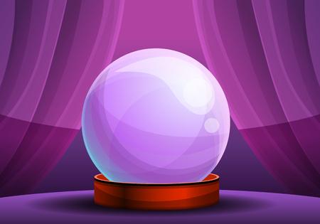 Banner de concepto de bola de cristal de fortuna mágica. Ilustración de dibujos animados de banner de concepto de vector de bola de cristal de fortuna mágica para diseño web Ilustración de vector
