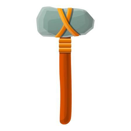 Icona del martello dell'età della pietra. Cartoon di età della pietra martello icona vettoriali per il web design isolato su sfondo bianco
