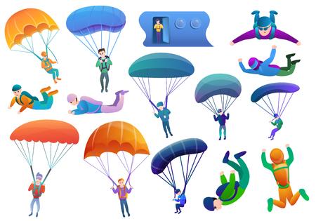 Fallschirmspringer-Symbole gesetzt. Karikatursatz Fallschirmspringer-Vektorikonen für Webdesign Vektorgrafik