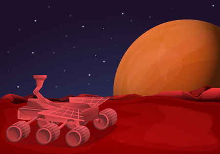 Mars rover concept banner. Cartoon illustration of mars rover vector concept banner for web design Illusztráció