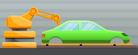 Car factory concept banner. Cartoon illustration of car factory vector concept banner for web design 矢量图像