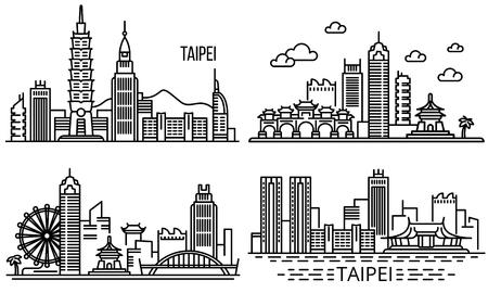 Taipeh-Banner-Set. Umrisse von Taipeh-Vektorbannern für Webdesign Vektorgrafik