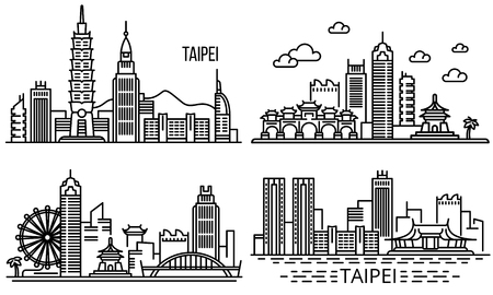 Taipei banner set. Outline set of taipei vector banner for web design