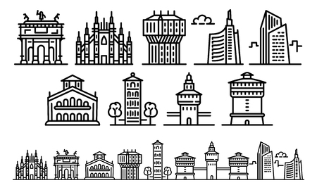 Milan icons set. Outline set of milan vector icons for web design isolated on white background Çizim