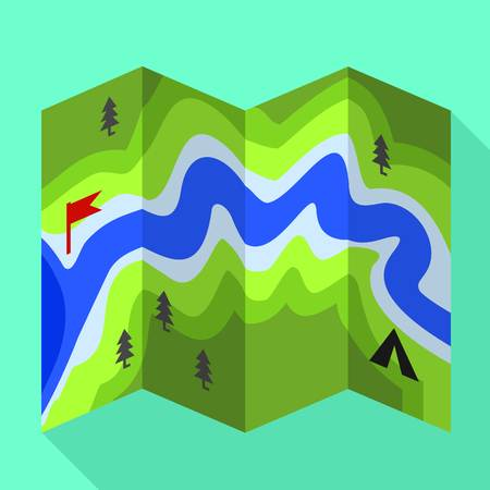 Rafting river map icon. Flat illustration of rafting river map vector icon for web design
