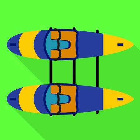 Double side canoe boat icon. Flat illustration of double side canoe boat vector icon for web design