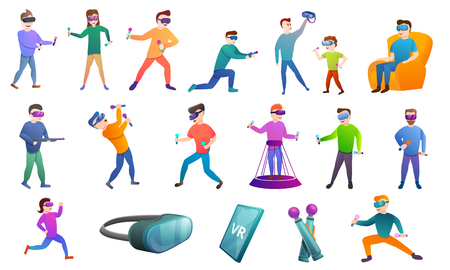 Game goggles icons set. Cartoon set of game goggles vector icons for web design
