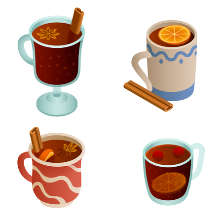 Mulled wine icons set. Isometric set of mulled wine vector icons for web design isolated on white background