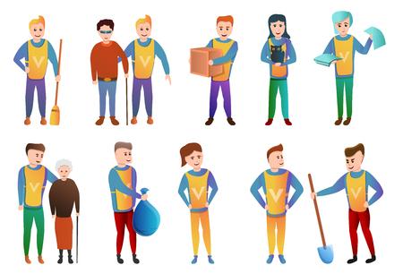 Volunteering icons set. Cartoon set of volunteering vector icons for web design