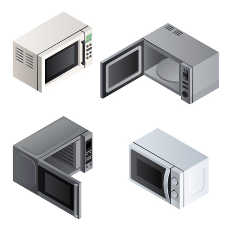 Microwave icons set. Isometric set of microwave vector icons for web design isolated on white background Ilustração