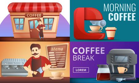 Barista coffee banner set. Cartoon illustration of barista coffee vector banner set for web design