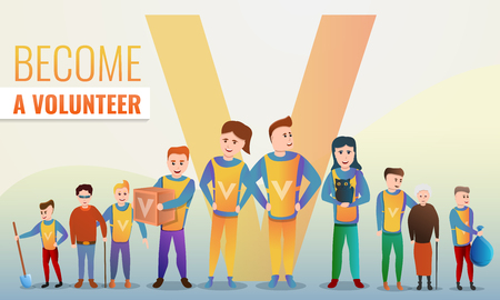 Helping volunteering concept banner. Cartoon illustration of helping volunteering vector concept banner for web design Ilustrace