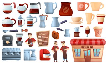 Barista icons set. Cartoon set of barista vector icons for web design