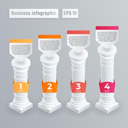 Infographie de pilier. Isométrique de l'infographie vectorielle de pilier pour la conception web