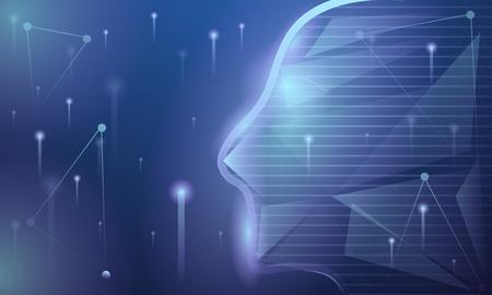 Artificial intelligence concept banner. Cartoon illustration of artificial intelligence vector concept banner for web design Ilustração Vetorial
