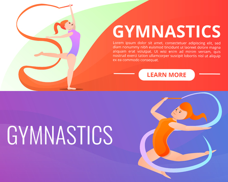 Rhythmic gymnastics banner set. Cartoon illustration of rhythmic gymnastics vector banner set for web design