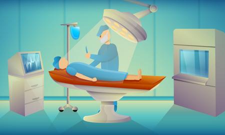 Banner de concepto de quirófano de cirujanos. Ilustración de dibujos animados de cirujanos concepto de vector de sala de operaciones banner para diseño web