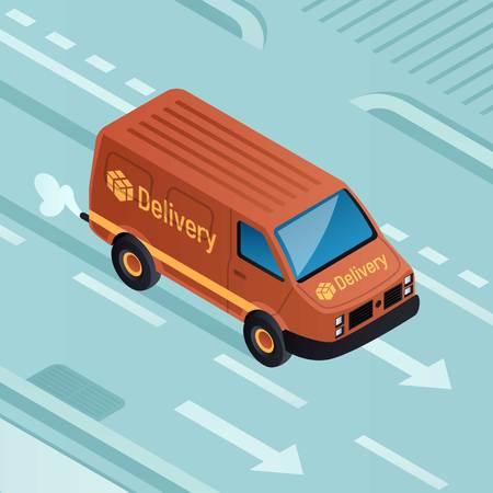 Van parcel delivery concept background. Isometric illustration of van parcel delivery vector concept background for web design 일러스트