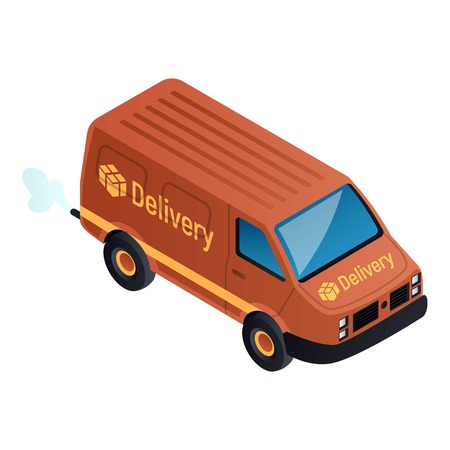 Delivery city van icon. Isometric of delivery city van vector icon for web design isolated on white background