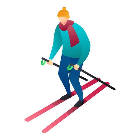 Man skiing icon. Isometric of man skiing vector icon for web design isolated on white background