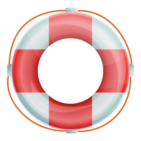 Life buoy icon. Cartoon of life buoy vector icon for web design isolated on white background