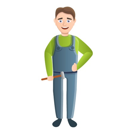 Smiling carpenter with hammer icon. Cartoon of smiling carpenter with hammer vector icon for web design isolated on white background