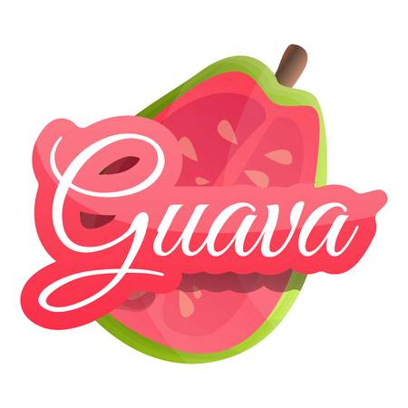 Half of guava logo. Cartoon of half of guava vector logo for web design isolated on white background