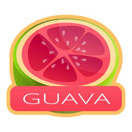Cut fresh guava logo. Cartoon of cut fresh guava vector logo for web design isolated on white background