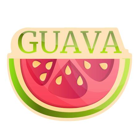 Slice guava logo. Cartoon of slice guava vector logo for web design isolated on white background