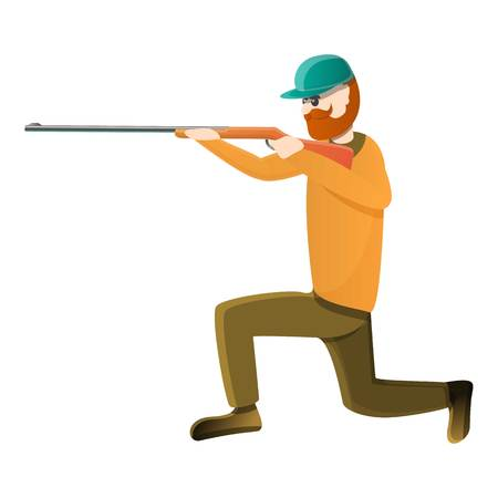Hunter ready for shooting icon. Cartoon of hunter ready for shooting vector icon for web design isolated on white background Çizim