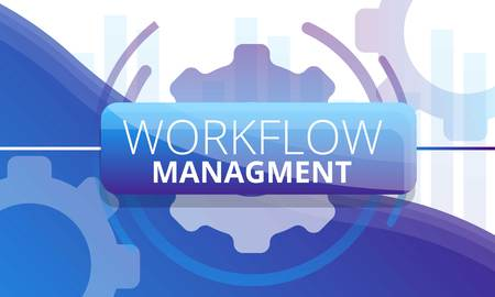 Workflow management concept banner. Cartoon illustration of workflow management vector concept banner for web design