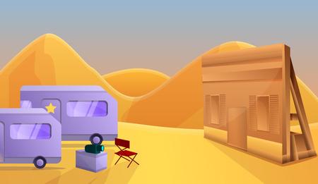 Desert saloon film production concept banner. Cartoon illustration of desert saloon film production vector concept banner for web design