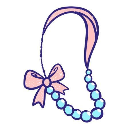 Ribbon bracelet icon. Hand drawn illustration of ribbon bracelet icon for web design