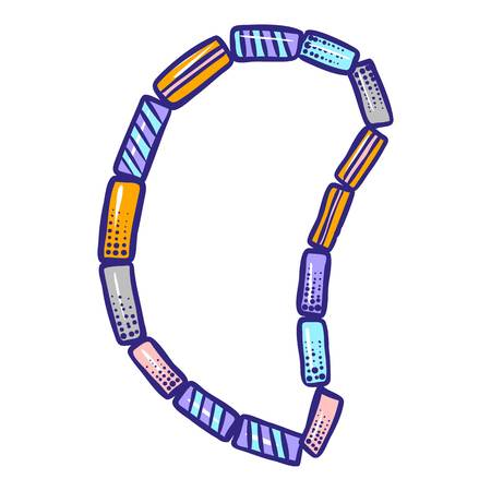 Colorful stone bracelet icon. Hand drawn illustration of colorful stone bracelet icon for web design
