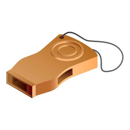 Brown whistle icon. Isometric of brown whistle icon for web design isolated on white background