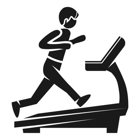 Boy at treadmill icon. Simple illustration of boy at treadmill icon for web design isolated on white background Imagens