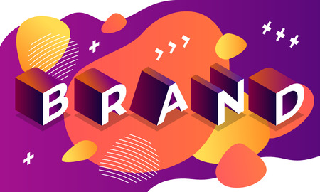 Abstract brand banner. Isometric illustration of abstract brand banner for web design