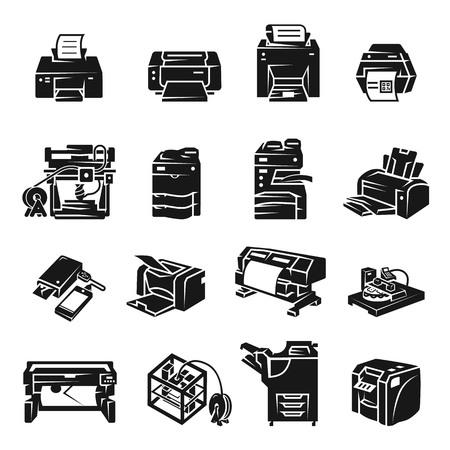 Printer icon set. Simple set of printer icons for web design on white background