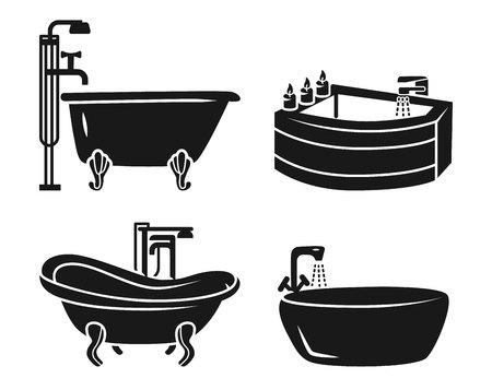 Bathtub icon set. Simple set of bathtub icons for web design on white background