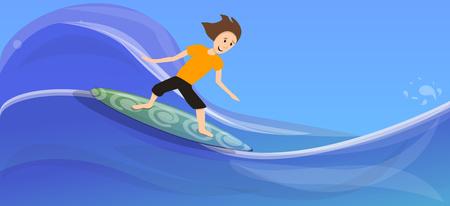 Boy surfing on wave concept banner. Cartoon illustration of boy surfing on wave concept banner for web design