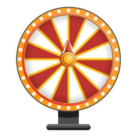 Rot-weißes Rad-Vermögenssymbol. Cartoon des roten weißen Rad-Glückssymbols für Webdesign isoliert auf weißem Hintergrund Standard-Bild