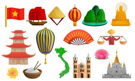 Vietnam icon set. Cartoon set of vietnam icons for web design