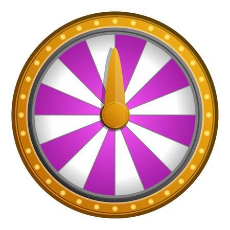 Icona di fortuna della ruota bianca rosa. Cartoon di rosa ruota bianca icona della fortuna per il web design isolato su sfondo bianco Archivio Fotografico