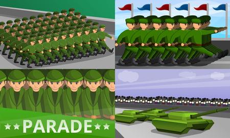 Military parade banner set. Cartoon illustration of military parade banner set for web design Imagens