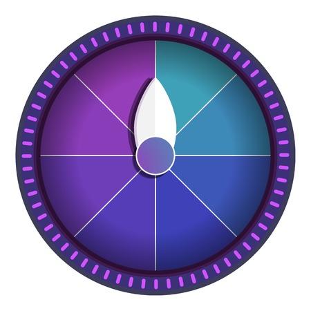 Violet wiel fortuin pictogram. Cartoon van violet wiel fortuin pictogram voor webdesign geïsoleerd op een witte achtergrond