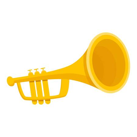 Gold trumpet icon. Cartoon of gold trumpet icon for web design isolated on white background